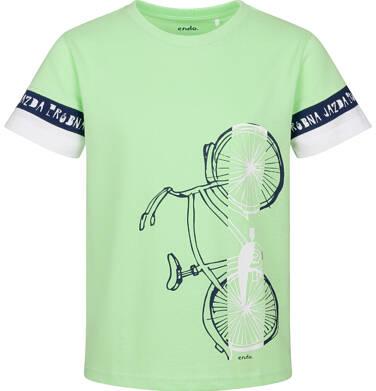 T-shirt z krótkim rękawem dla chłopca, z rowerem, zielony, 9-13 lat C03G596_1