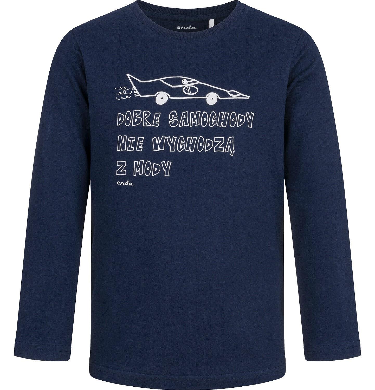 Endo - T-shirt z długim rękawem dla chłopca, z samochodem, granatowy, 2-8 lat C04G184_1