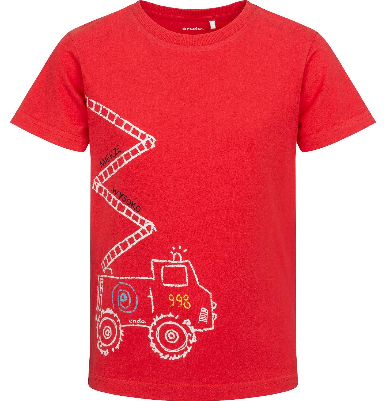 Endo - T-shirt z krótkim rękawem dla chłopca, ze strażą pożarną, czerwony, 2-8 lat C05G175_1