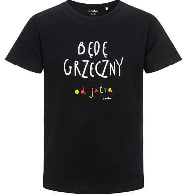 Endo - T-shirt z krótkim rękawem dla chłopca, z napisem będę grzeczny od jutra, czarny, 2-8 lat C06G163_1 34