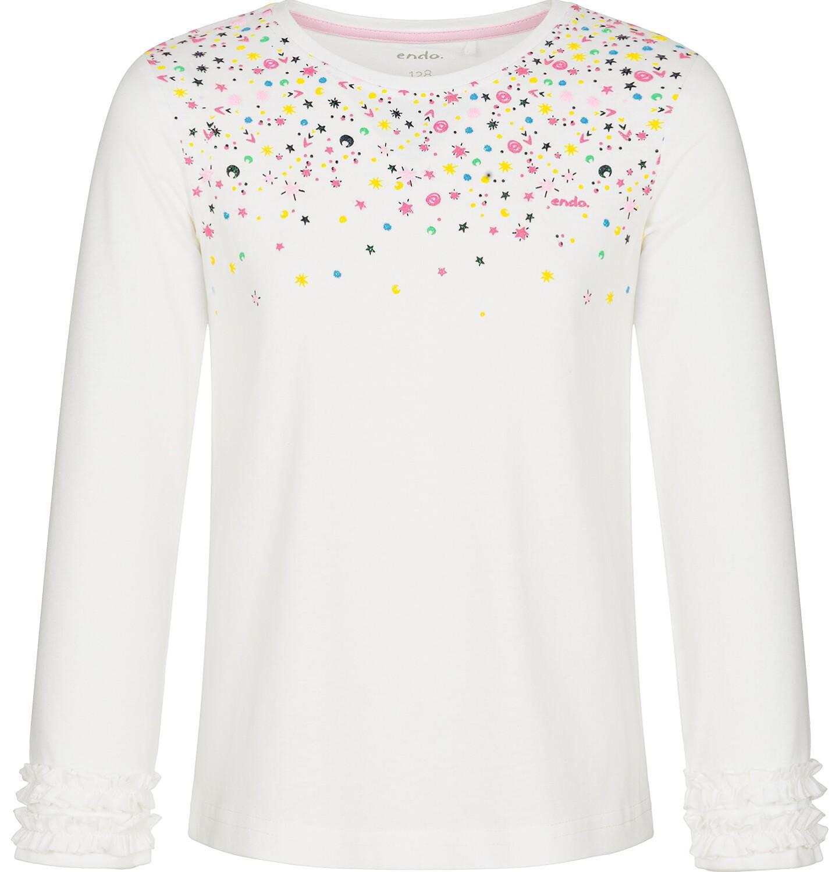 Endo - Bluzka z długim rękawem dla dziewczynki, błyszczące elementy, złamana biel, 3-8 lat D92G084_1