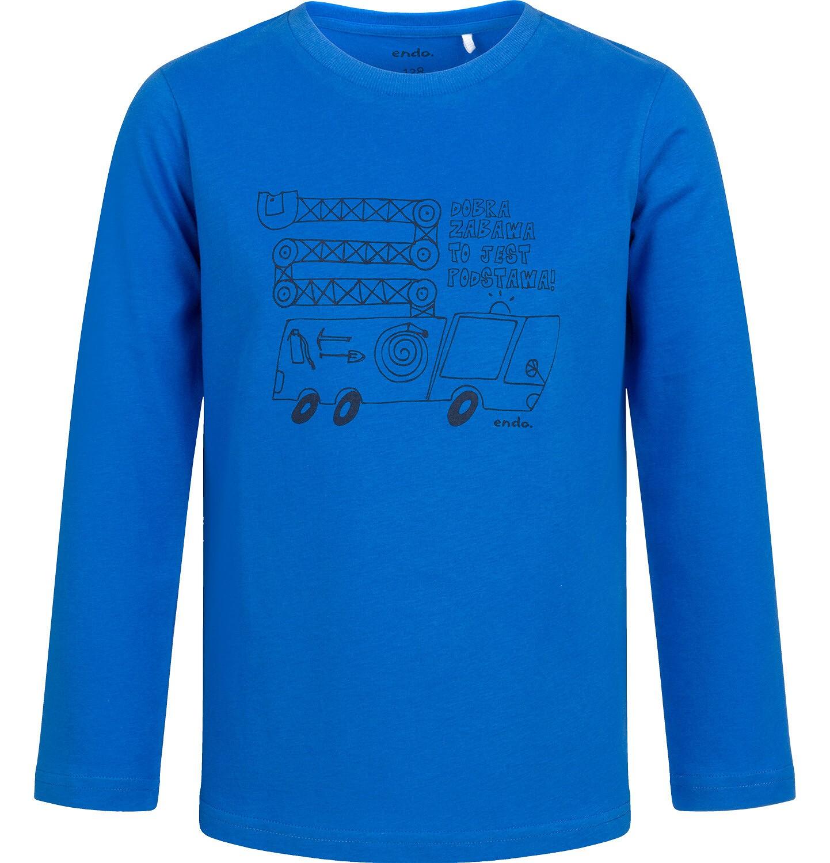 Endo - T-shirt z długim rękawem dla chłopca, z samochodem, niebieski, 2-8 lat C04G185_1