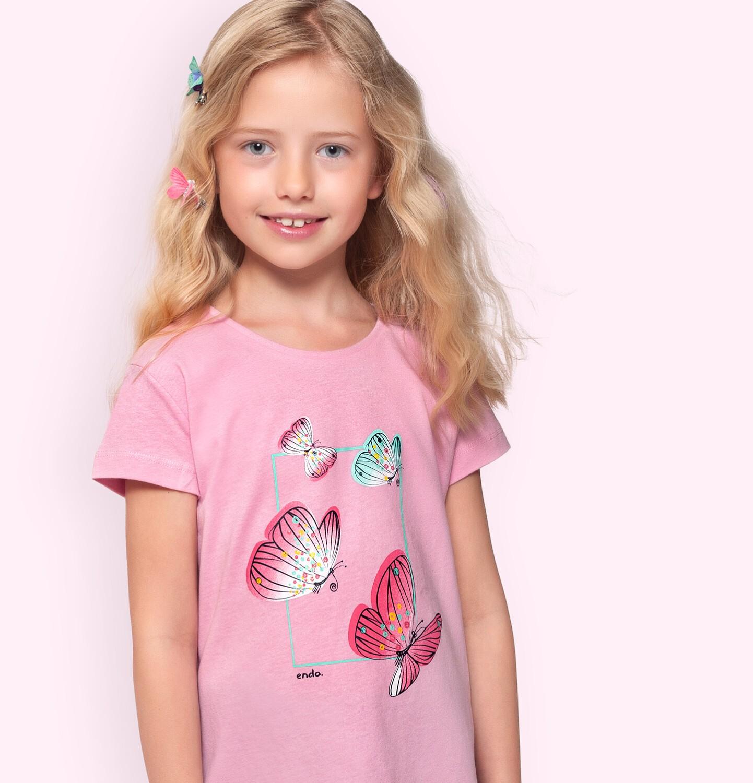 Endo - T-shirt z krótkim rękawem dla dziewczynki, z motylami, różowy, 2-8 lat D06G002_1