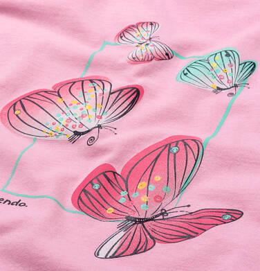 Endo - T-shirt z krótkim rękawem dla dziewczynki, z motylami, różowy, 2-8 lat D06G002_1,2