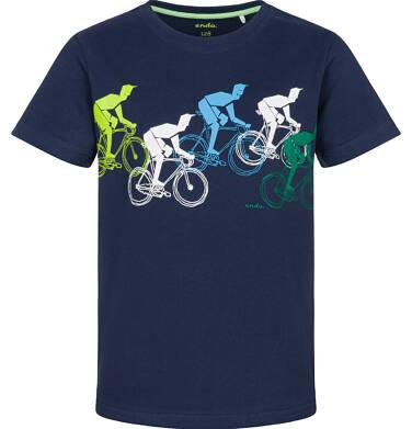 Endo - T-shirt z krótkim rękawem dla chłopca,  z rowerzystami, granatowy, 9-13 lat C03G606_1
