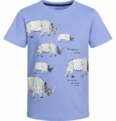 T-shirt z krótkim rękawem dla chłopca, z nosorożcem, błękitny, 2-8 lat C03G007_1
