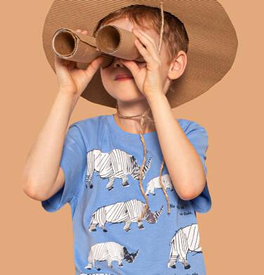 Endo - T-shirt z krótkim rękawem dla chłopca, z nosorożcem, błękitny, 2-8 lat C03G007_1 36
