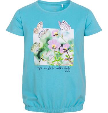 Endo - Bluzka z krótkim rękawem dla dziewczynki, z kwiatami i motylami, niebieska, 2-8 lat D06G010_2 13