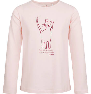Bluzka z długim rękawem dla dziewczynki, z kotem, różowa, 2-8 lat D04G145_1