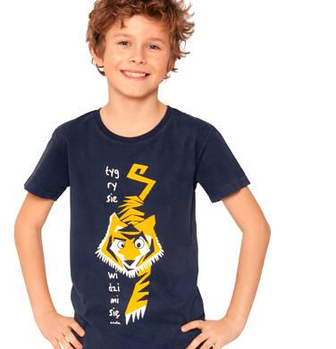 Endo - T-shirt z krótkim rękawem dla chłopca, z tygrysem, ciemnogranatowy, 2-8 lat C03G011_1