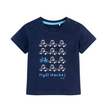 Endo - T-shirt dla dziecka do 2 lat, w samochody, granatowy N03G055_1 12