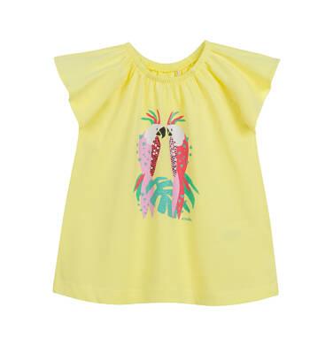 Endo - Sukienka z krótkim rękawem dla dziewczynki, z papugami, żółta N03H003_1 36