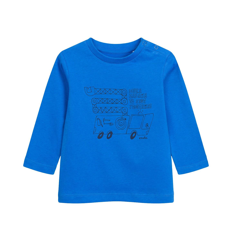 Endo - T-shirt z długim rękawem dla dziecka do 2 lat, z samochodem, niebieski N04G040_1