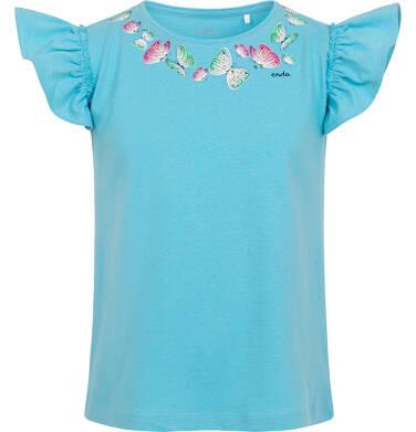 Endo - Bluzka z krótkim rękawem dla dziewczynki, rękaw z falbanką, z motylami, niebieska, 9-13lat D06G015_2 5