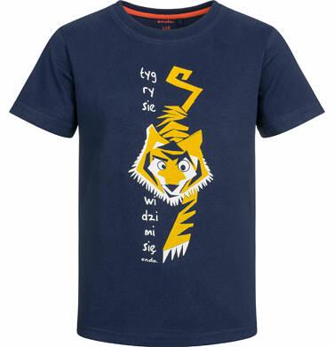 Endo - T-shirt z krótkim rękawem dla chłopca, z tygrysem, ciemnogranatowy, 9-13 lat C03G511_1