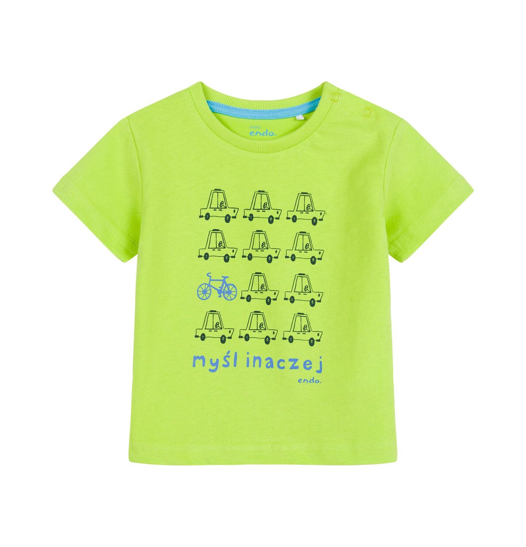 Endo - T-shirt dla dziecka do 2 lat, w samochody, limonkowy N03G055_2