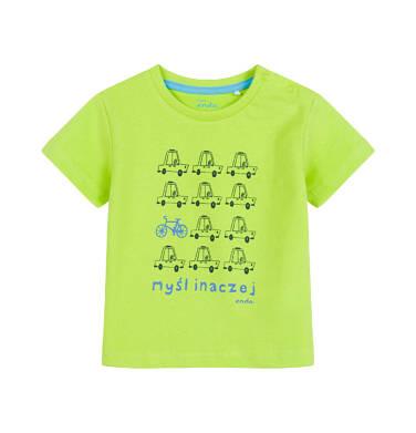 T-shirt dla dziecka do 2 lat, w samochody, limonkowy N03G055_2