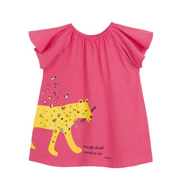 Endo - Sukienka z krótkim rękawem dla dziewczynki, z panterą, różowa N03H004_1 13