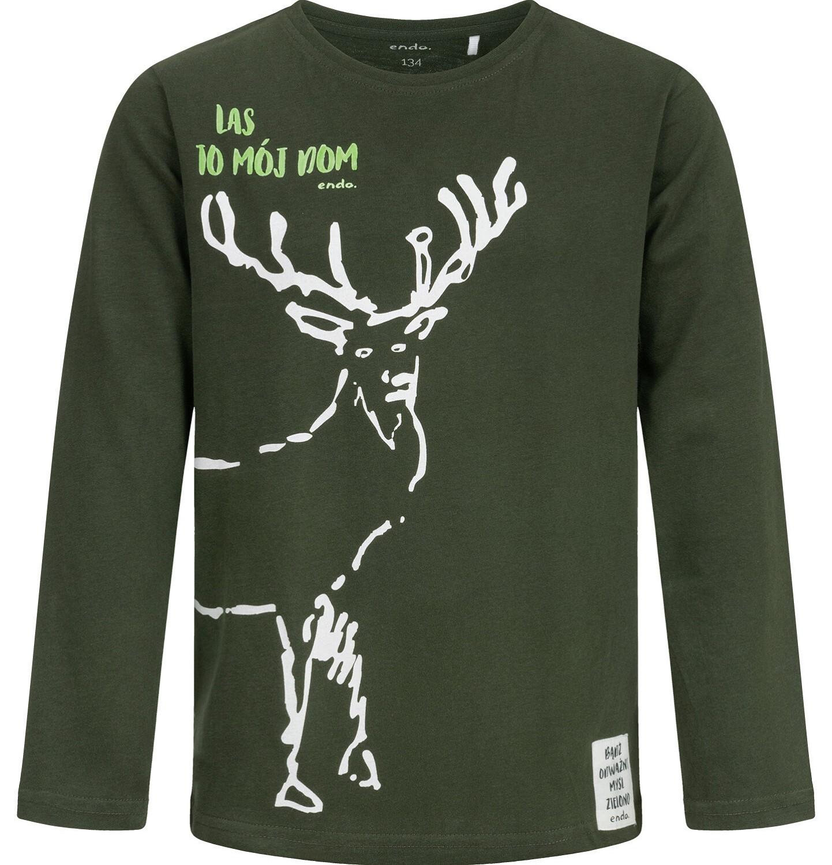 Endo - T-shirt z długim rękawem dla chłopca, z jeleniem, 9-13 lat C04G065_1