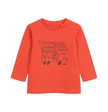 Endo - T-shirt z długim rękawem dla dziecka do 2 lat, z samochodem, czerwony N04G040_2 22