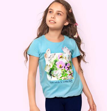 Endo - Bluzka z krótkim rękawem dla dziewczynki, z kwiatami i motylami, niebieska, 9-13 lat D06G022_2 92