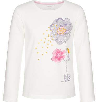 Bluzka z długim rękawem dla dziewczynki, z falbanką, porcelanowa, 3-8 lat D92G113_1