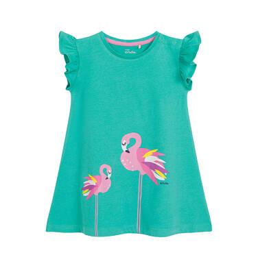 Endo - Sukienka z krótkim rękawem dla dziewczynki, z flamingami, zielona N03H005_1 6
