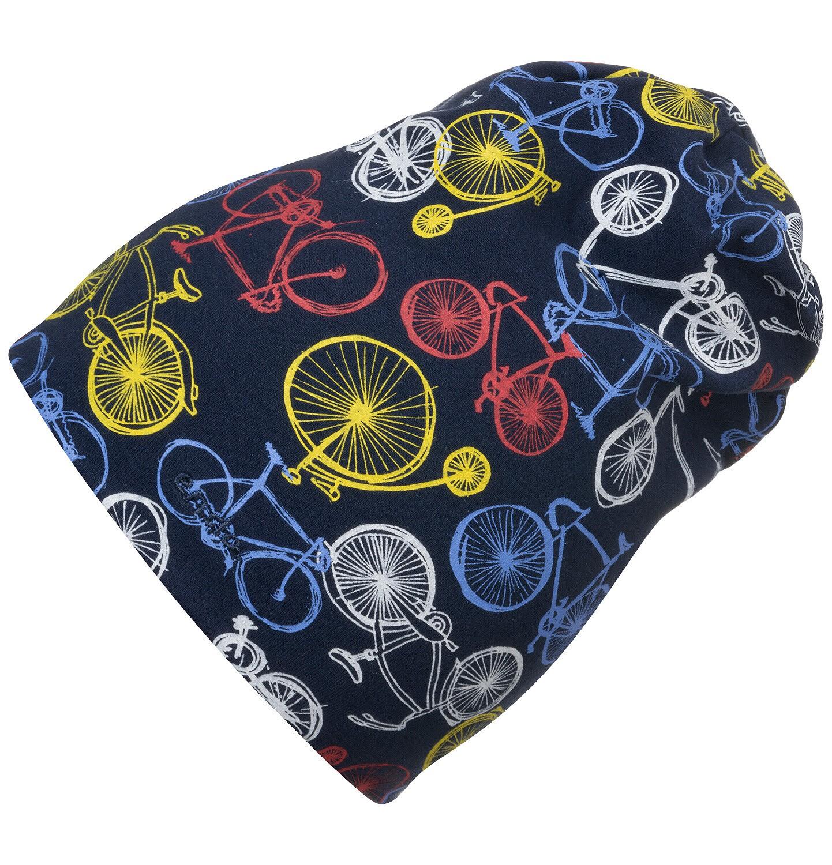 Endo - Czapka wiosenna dla dziecka, granatowa w kolorowe rowery C05R018_1