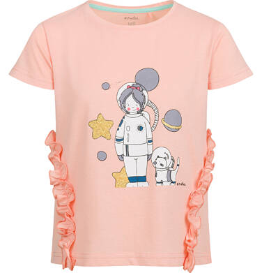 Endo - Bluzka z krótkim rękawem dla dziewczynki, z kosmonautą, pomarańczowa, 2-8 lat D03G127_1 187