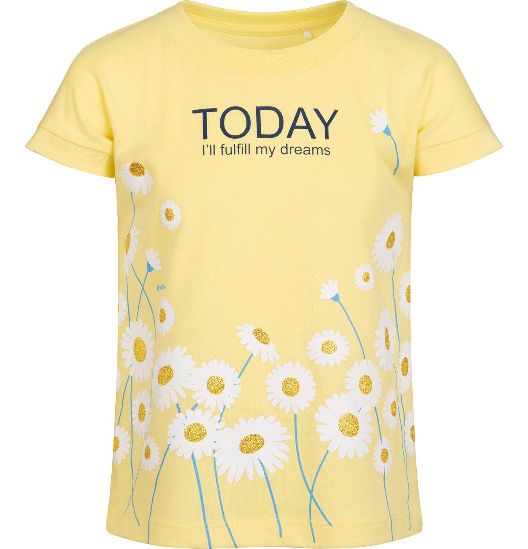 Endo - T-shirt z krótkim rękawem dla dziewczynki, z napisem i stokrotkami, żółty, 2-8 lat D05G056_2
