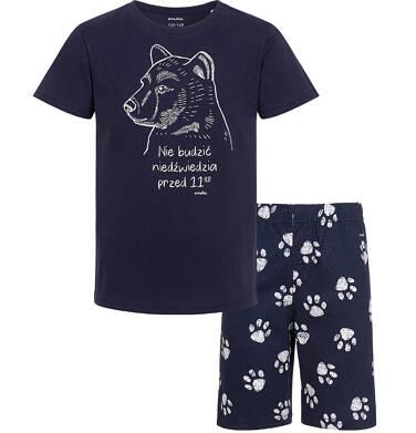 Piżama z krótkim rękawem, z niedźwiedziem, granatowa, 2-8 lat C05V016_1