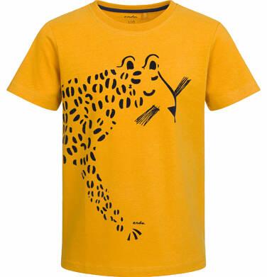 Endo - T-shirt z krótkim rękawem dla chłopca, z lampartem, musztardowy, 9-13 lat C03G513_1