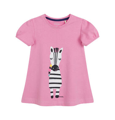 Endo - Sukienka z krótkim rękawem dla dziewczynki, z zebrą, różowa N03H006_1 5