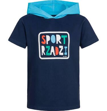 T-shirt z krótkim rękawem dla chłopca, z kontrastowym kapturem, ciemnogranatowy, 2-8 lat C03G072_1