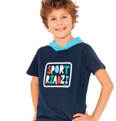 Endo - T-shirt z krótkim rękawem dla chłopca, z kontrastowym kapturem, ciemnogranatowy, 2-8 lat C03G072_1