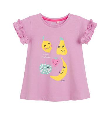 Endo - Sukienka z krótkim rękawem dla dziewczynki, w owoce, różowa N03H014_1 4