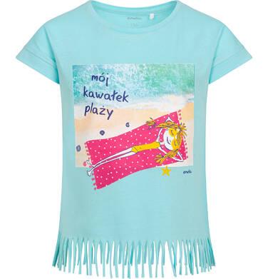 Endo - T-shirt z krótkim rękawem dla dziewczynki, z frędzlami na dole, z napisem mój kawałek plaży, niebieski, 9-13 lat D06G062_1 31