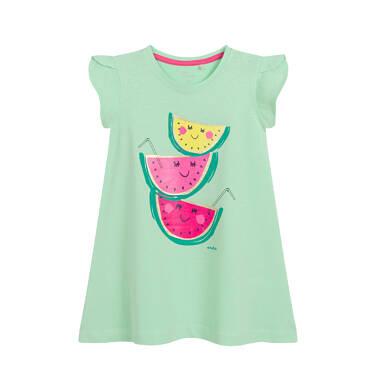 Endo - Sukienka z krótkim rękawem dla dziewczynki, w owoce, zielona N03H015_1 19