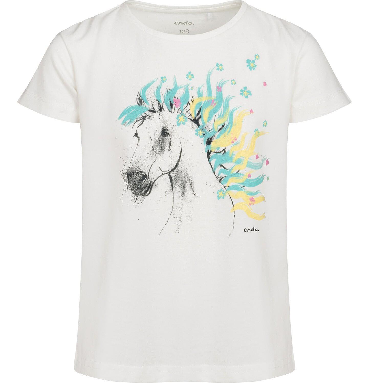 Endo - T-shirt z krótkim rękawem dla dziewczynki, z koniem, kremowy, 9-13 lat D05G001_1