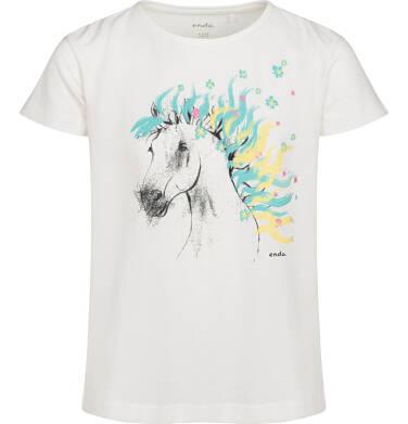 Endo - T-shirt z krótkim rękawem dla dziewczynki, z koniem, kremowy, 9-13 lat D05G001_1,1