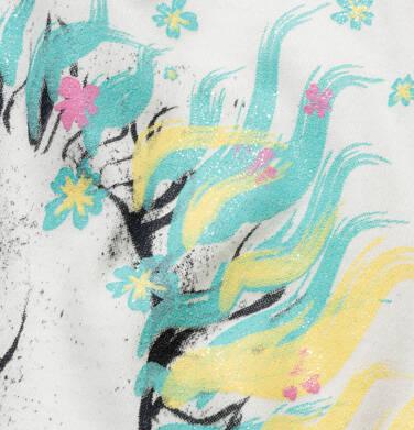 Endo - T-shirt z krótkim rękawem dla dziewczynki, z koniem, kremowy, 9-13 lat D05G001_1,3