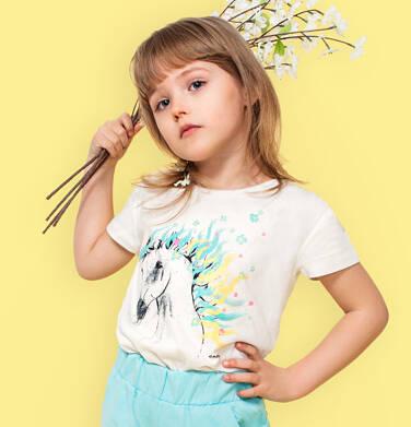 Endo - T-shirt z krótkim rękawem dla dziewczynki, z koniem, kremowy, 9-13 lat D05G001_1,2