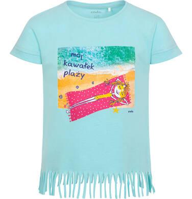 Endo - T-shirt z krótkim rękawem dla dziewczynki, z frędzlami na dole, z napisem mój kawałek plaży, niebieski, 2-8 lat D06G068_1 11