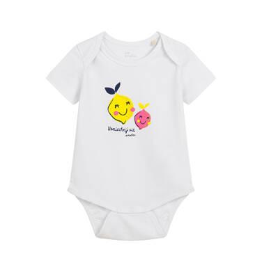 Endo - Body z krótkim rękawem dla dziecka do 2 lat, z cytryna, białe N03M018_1 2