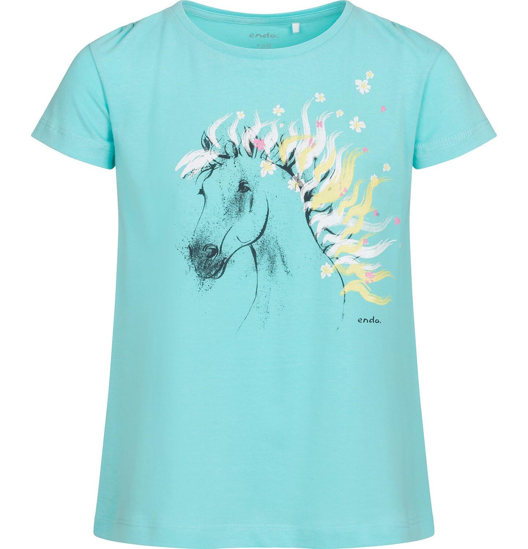 Endo - T-shirt z krótkim rękawem dla dziewczynki, z koniem, niebieski, 9-13 lat D05G001_2