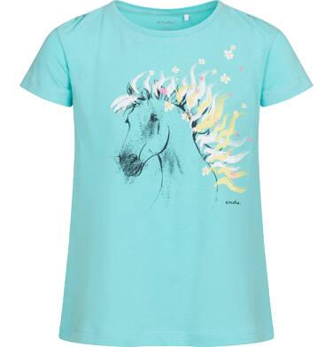 Endo - T-shirt z krótkim rękawem dla dziewczynki, z koniem, niebieski, 9-13 lat D05G001_2,1