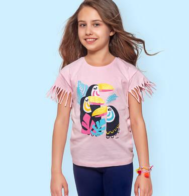 Endo - T-shirt z krótkim rękawem dla dziewczynki, z frędzlami przy rękawach, z tukanami, różowy, 9-13 lat D06G073_1 36