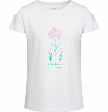 Bluzka z krótkim rękawem dla dziewczynki, motyw w kwiaty, biała, 9-13 lat D03G532_1