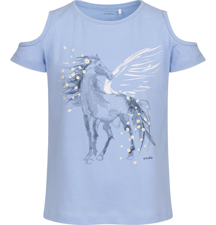 Endo - T-shirt z krótkim rękawem i wyciętymi ramionami dla dziewczynki, z pegazem, niebieski, 9-13 lat D05G002_1