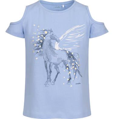 Endo - T-shirt z krótkim rękawem i wyciętymi ramionami dla dziewczynki, z pegazem, niebieski, 9-13 lat D05G002_1,1